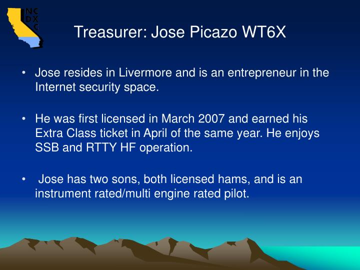 Treasurer: Jose Picazo WT6X