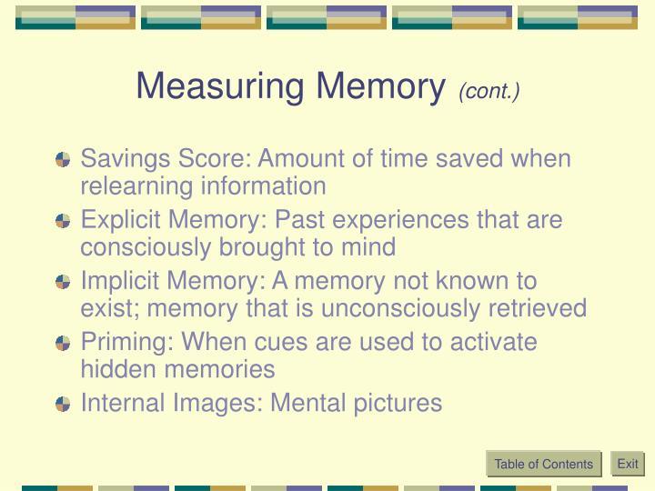 Measuring Memory