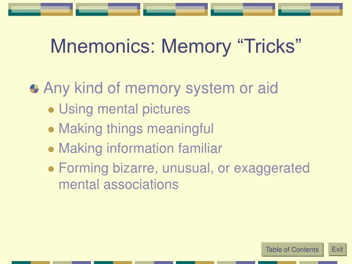 "Mnemonics: Memory ""Tricks"""