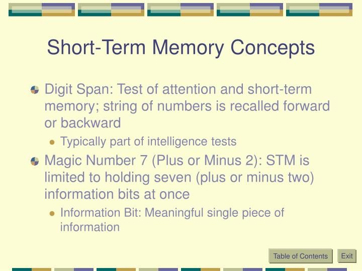 Short-Term Memory Concepts