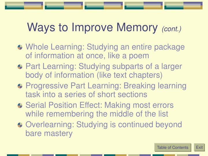 Ways to Improve Memory