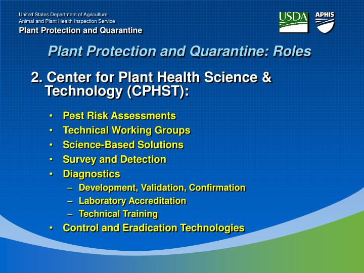 Plant Protection and Quarantine: Roles