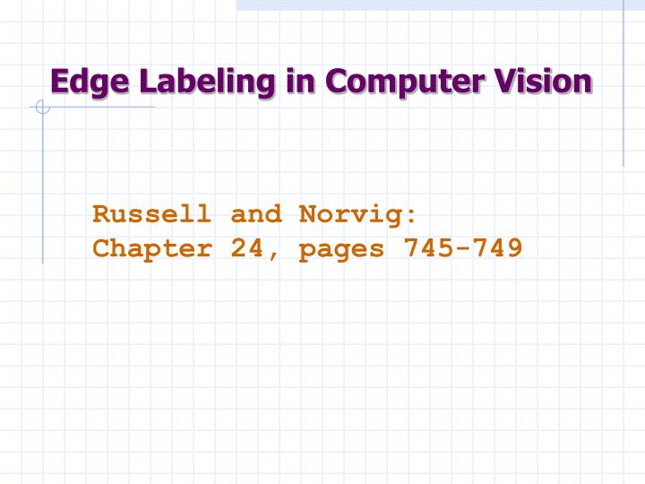 Edge Labeling in Computer Vision