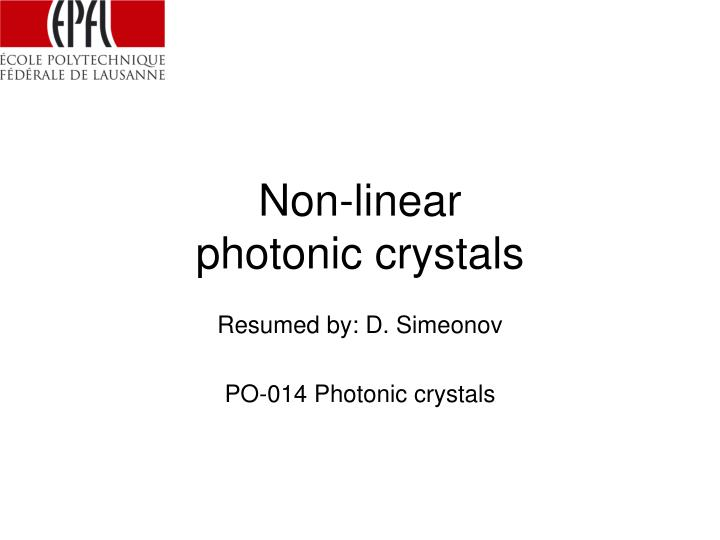 non linear photonic crystals n.