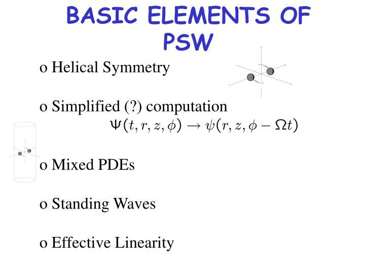 BASIC ELEMENTS OF PSW