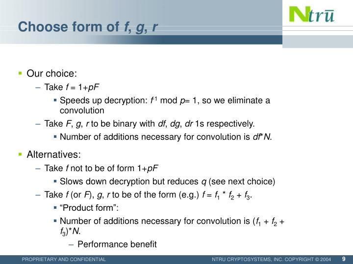 Choose form of