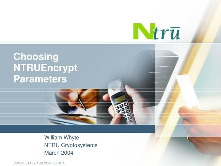 Choosing ntruencrypt parameters