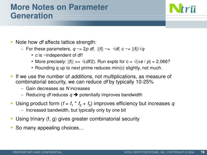 More Notes on Parameter Generation