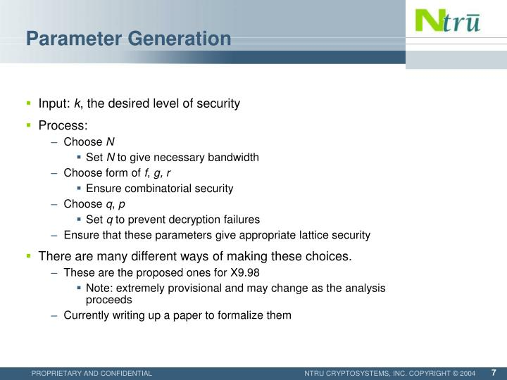 Parameter Generation