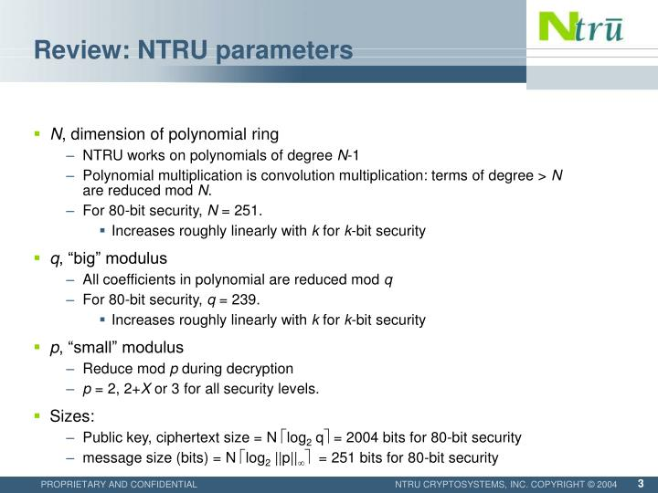 Review ntru parameters