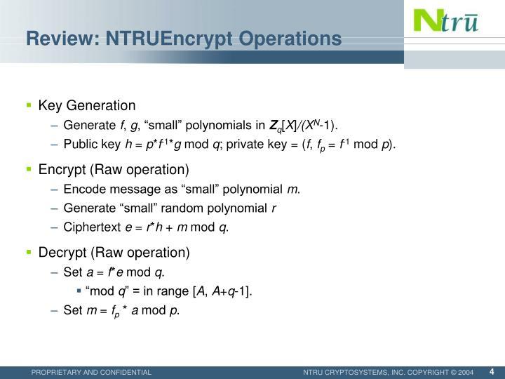 Review: NTRUEncrypt Operations