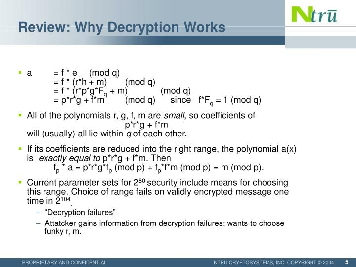 Review: Why Decryption Works