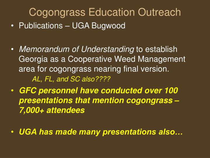 Cogongrass Education Outreach