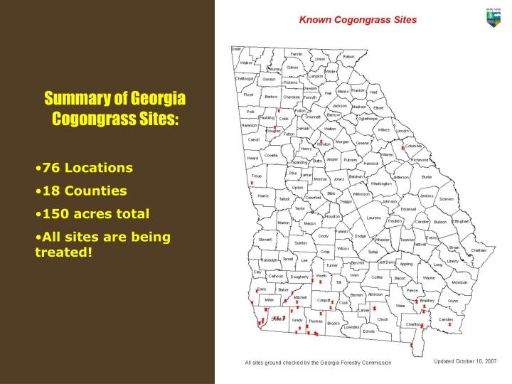 Summary of Georgia Cogongrass Sites: