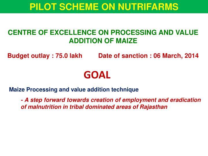 PILOT SCHEME ON NUTRIFARMS