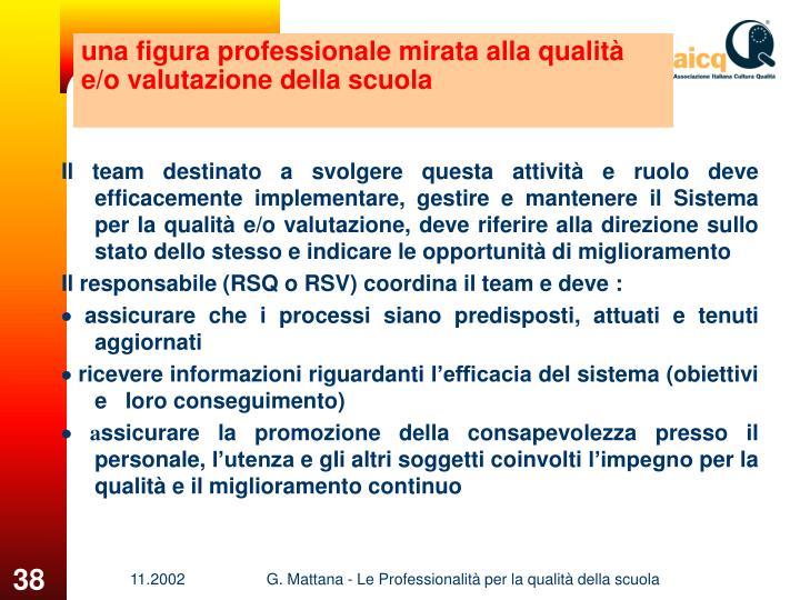 una figura professionale mirata alla qualità e/o valutazione della scuola