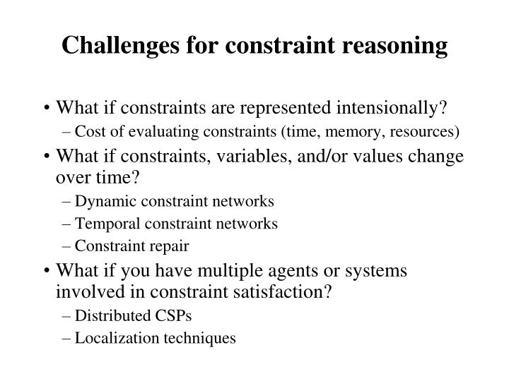 Challenges for constraint reasoning