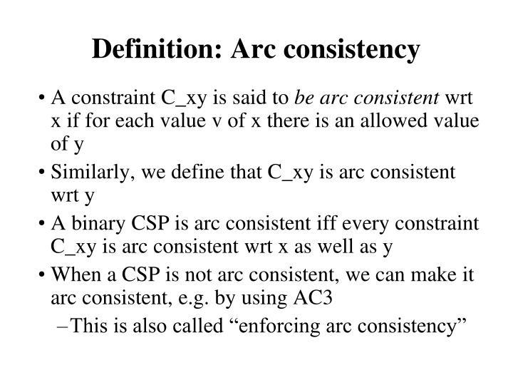 Definition: Arc consistency