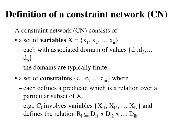 Definition of a constraint network (CN)