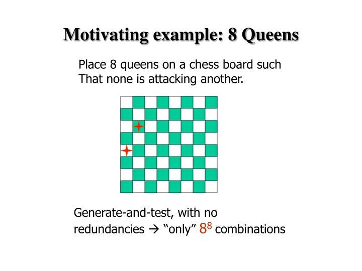 Motivating example 8 queens