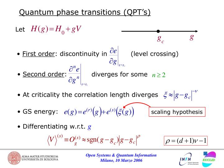 Quantum phase transitions (QPT's)