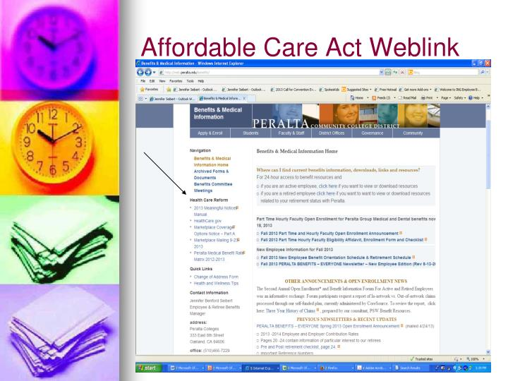 Affordable Care Act Weblink