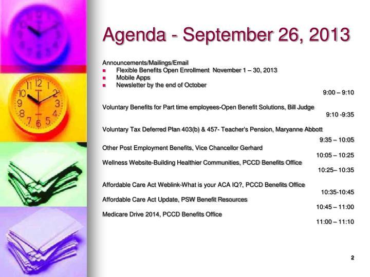 Agenda september 26 2013