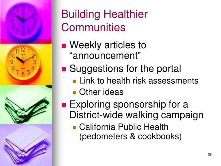 Building Healthier Communities