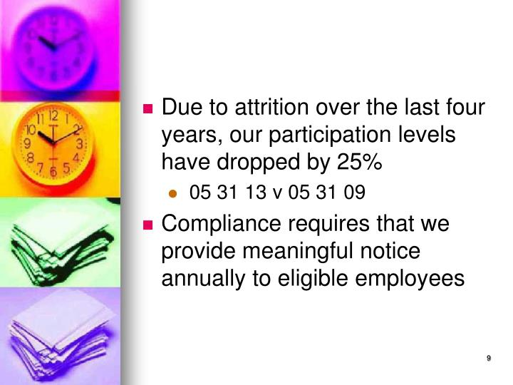 Due to attrition over the last four years, our participation levels have dropped by 25%