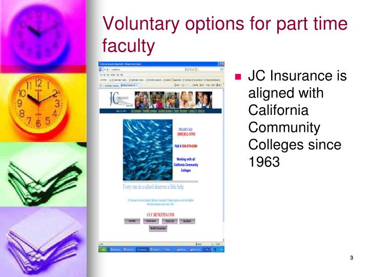 Voluntary options for part time faculty