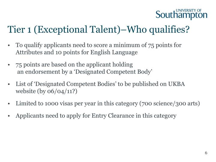 Tier 1 (Exceptional Talent)–Who qualifies?