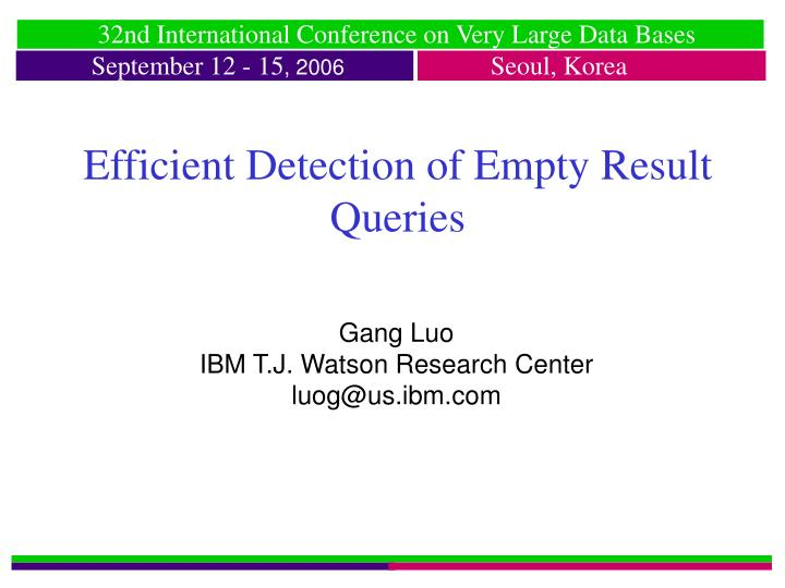 efficient detection of empty result queries n.