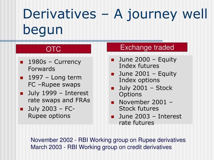 derivatives a journey well begun n.