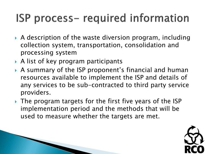 ISP process- required information