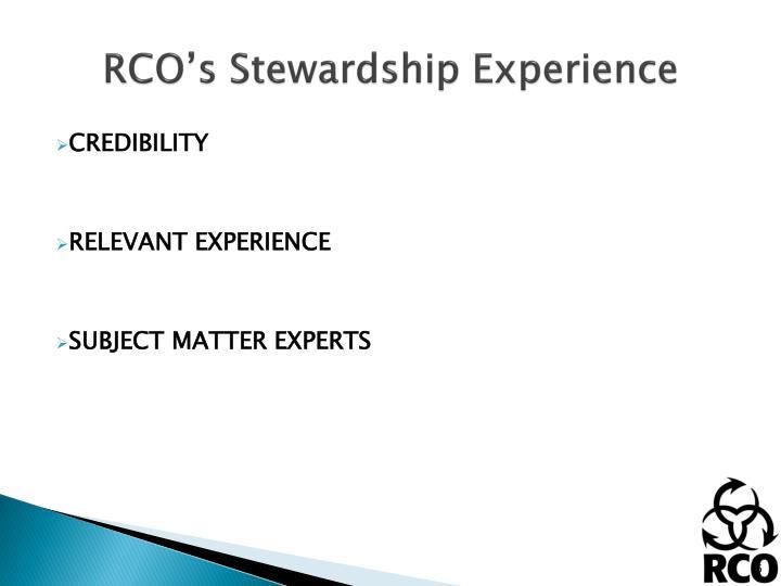 RCO's Stewardship Experience