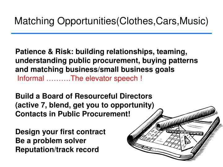 Matching Opportunities(Clothes,Cars,Music)