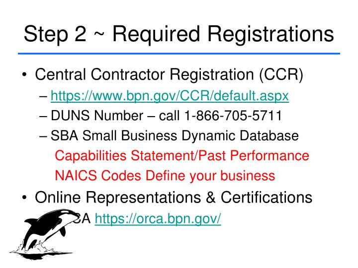 Step 2 ~ Required Registrations