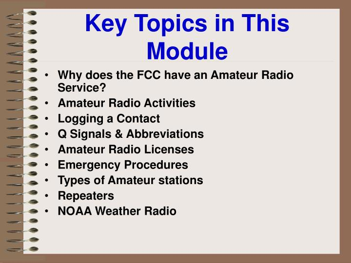 Key topics in this module