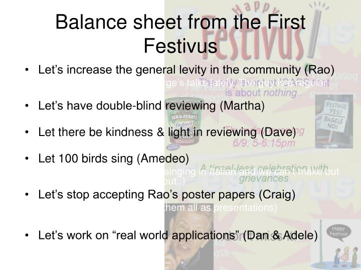 Balance sheet from the First Festivus