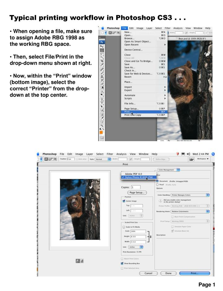 Typical printing workflow in Photoshop CS3 . . .
