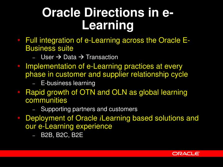 Oracle Directions in e-Learning