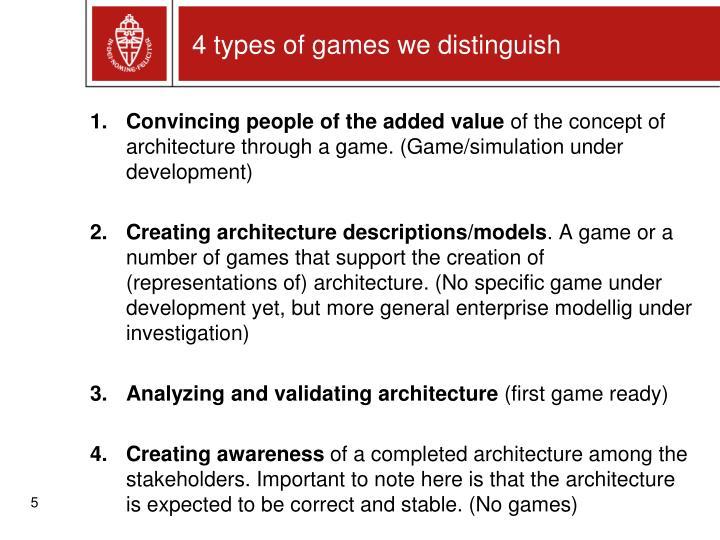 4 types of games we distinguish