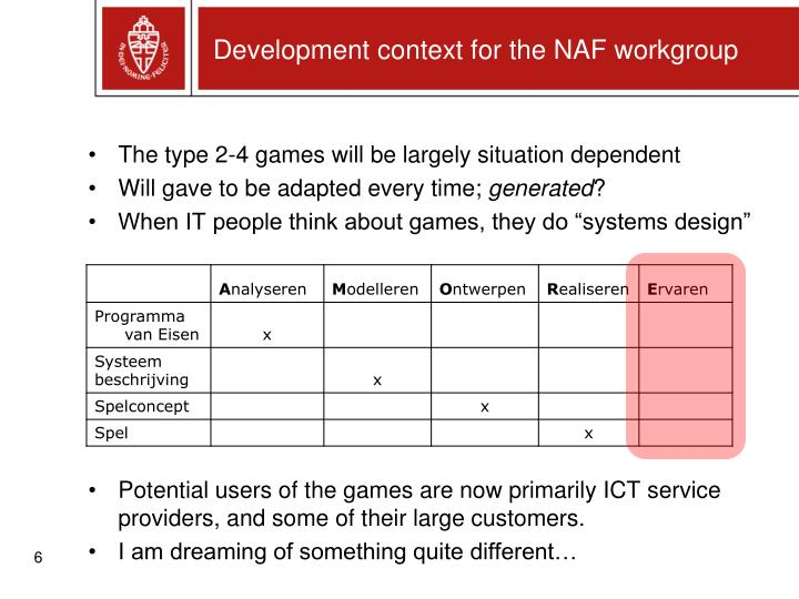 Development context for the NAF workgroup