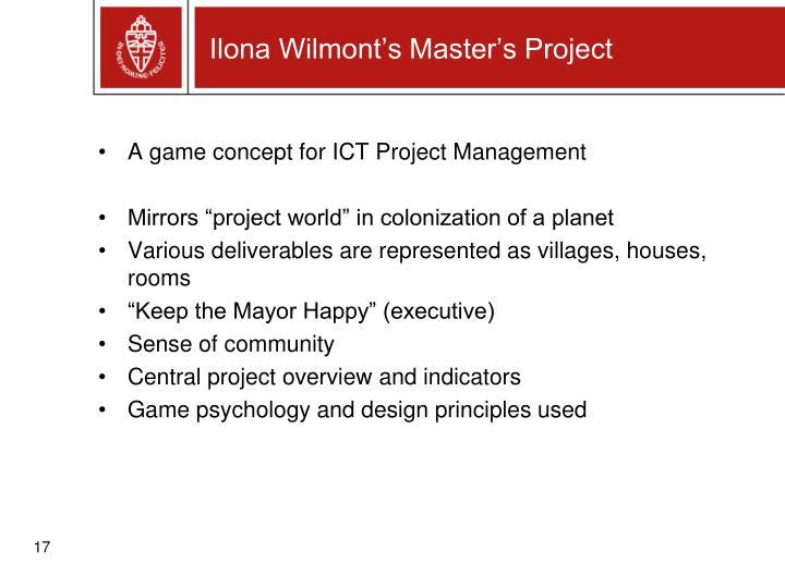 Ilona Wilmont's Master's Project