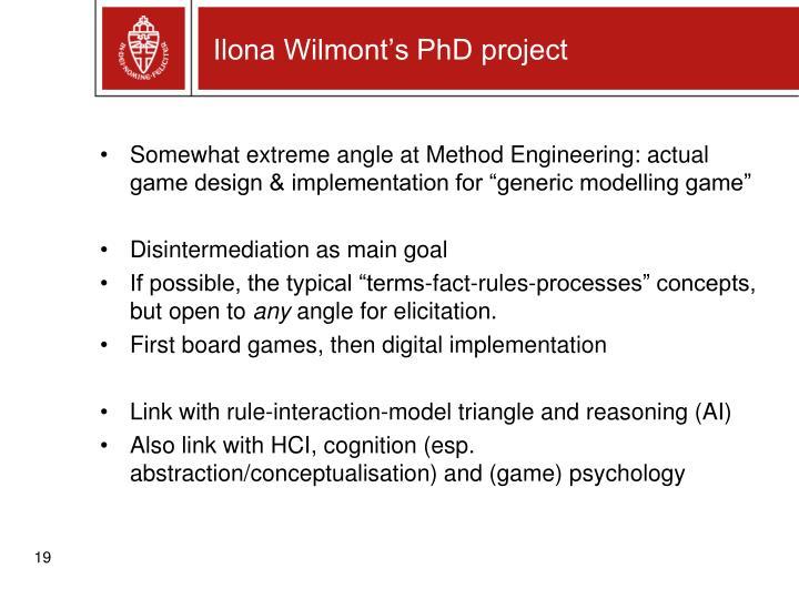 Ilona Wilmont's PhD project