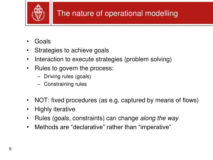 The nature of operational modelling