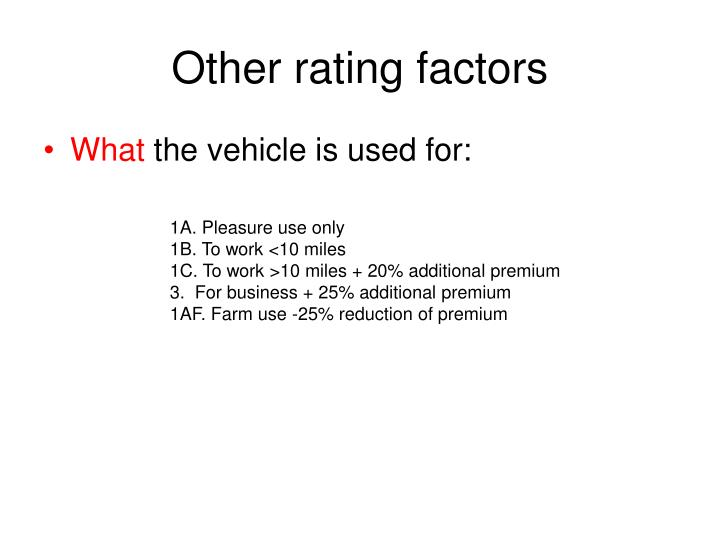 Other rating factors