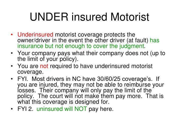 UNDER insured Motorist