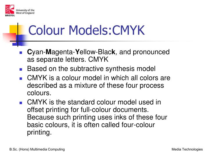 Colour Models:CMYK