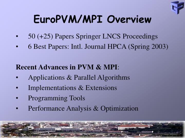 Europvm mpi overview